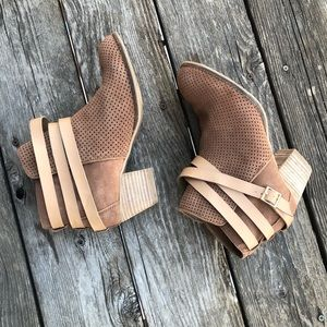 Dolce Vita Tan Suede Belted Booties